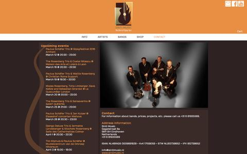 Screenshot of Contact Page sintimusic.nl - Contact | Sinti Music - captured March 11, 2016