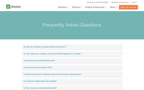 Screenshot of FAQ Page drchrono.com - EHR/EMR Frequently Asked Questions | drchrono - captured Feb. 4, 2017
