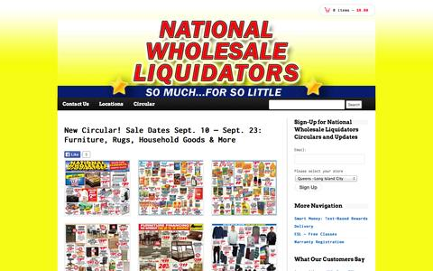 Screenshot of Home Page nationalwholesaleliquidators.com - National Wholesale Liquidators - captured Sept. 19, 2014