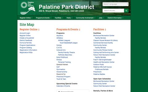 Screenshot of Site Map Page palatineparks.org - Site Map | Palatine Park District - captured Sept. 25, 2018