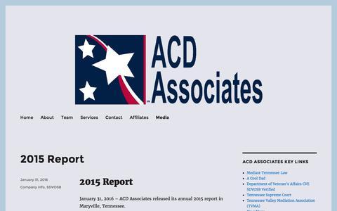 Screenshot of Press Page acdassociates.com - Media ACD Associates | Business | Consumers | Government - captured July 23, 2016