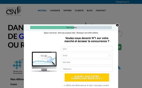 Screenshot of Home Page agence-csv.com - Agence CSV: Agence de référencement naturel sur Google - captured Nov. 10, 2015