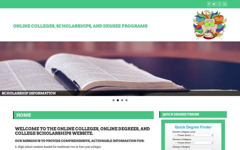 Screenshot of Home Page college-scholarships.com - Online Colleges | Online Degrees | Online College Scholarships - captured Sept. 23, 2018