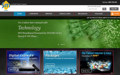 Screenshot of Home Page siticable.com - SITI Cable –India's leading Multi System Operator | Digital Cable TV Services - captured Oct. 21, 2014