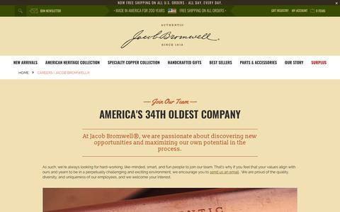 Screenshot of Jobs Page jacobbromwell.com - Made in the USA Careers | Jacob Bromwell® - captured Sept. 22, 2018