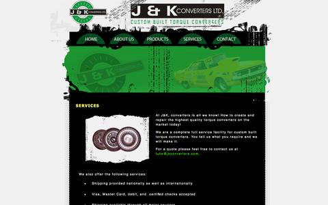Screenshot of Services Page jkconverters.com - J&K Converters Ltd. High Performance Custom Built Torque Converters - captured Oct. 3, 2014