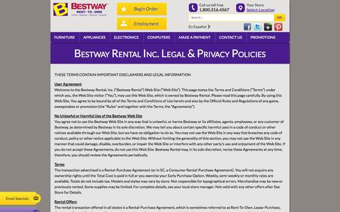 Screenshot of Privacy Page Terms Page bestwayrto.com - Bestway Rental Inc. Legal & Privacy Policies - Bestway Rent-to-Own - captured Oct. 23, 2014