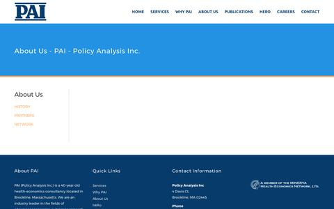 Screenshot of About Page pai2.com - About Us - PAI - Policy Analysis Inc. - captured Aug. 7, 2017