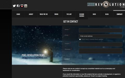 Screenshot of Privacy Page Contact Page pixelrevolutionfilms.com - Contact us - captured Dec. 9, 2015