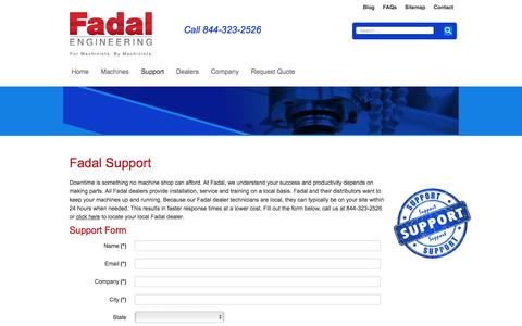 Screenshot of Support Page fadal.com - Fadal - Fadal-Service-Parts-Training - captured March 5, 2016