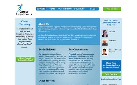 Screenshot of Home Page Services Page careerinvestments.com - Career InvestmentCareer Investments   Career Management and Strategy - captured Oct. 1, 2014