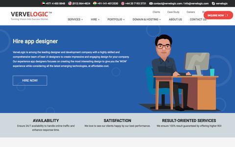 Screenshot of vervelogic.com - Hire UI/App designer for your business - captured Jan. 16, 2018