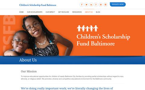 Screenshot of About Page csfbaltimore.org - About Us - captured July 29, 2017