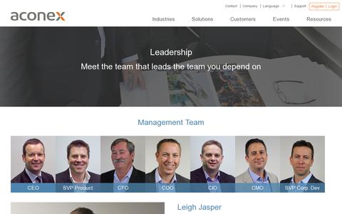 Screenshot of Team Page aconex.com - Leadership  | Aconex - captured July 20, 2014