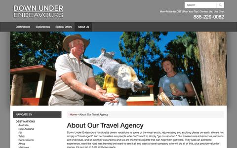 Screenshot of About Page downunderendeavours.com - Travel Agency - Australia, New Zealand, Fiji, Africa - Down Under Endeavours - captured Sept. 24, 2014