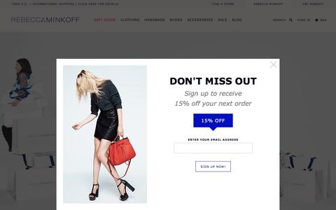 Screenshot of Home Page rebeccaminkoff.com - Rebecca Minkoff Online Store: Handbags, Clothing, Shoes, & Accessories  | Rebecca Minkoff - captured Dec. 11, 2015