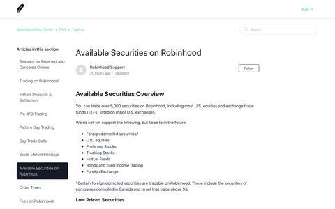 Available Securities on Robinhood – Robinhood Help Center