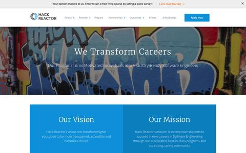Screenshot of About Page hackreactor.com - Learn About Us and How We Transform Careers | Hack Reactor - captured March 18, 2017