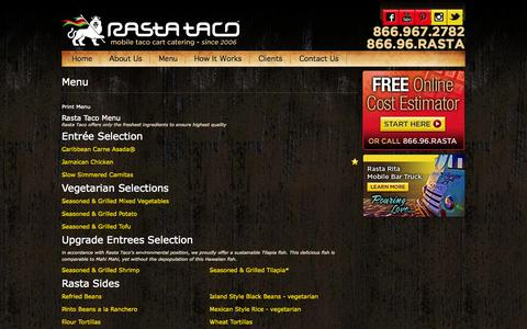 Screenshot of Menu Page rastataco.com - Menu - Taco Catering Orange County Ca | Taco Cart Catering Orange Ca | Rasta Taco - captured Oct. 7, 2014
