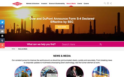 Screenshot of Press Page dow.com - News and Media | Dow - captured July 1, 2016