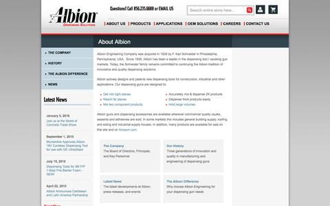 Screenshot of About Page albioneng.com - About Albion Engineering a dispensing gun and adhesive application equipment provider for over 80 years. | Albion Engineering - captured Feb. 5, 2016