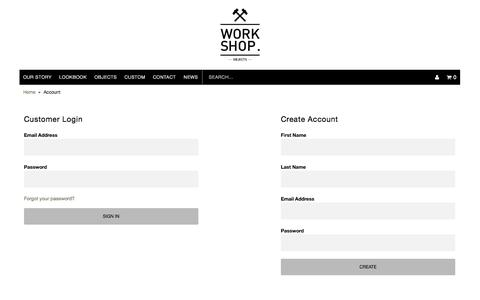 Screenshot of Login Page work-shop.net.au - Account | WORK SHOP OBJECTS - captured Oct. 7, 2014