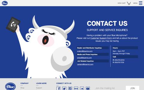 Screenshot of Contact Page bluemic.com - Blue Microphones - Contact - captured April 19, 2016