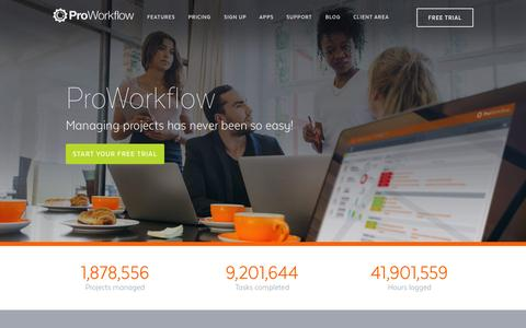 Screenshot of Home Page proworkflow.com - Online Project Management | Workflow | ProWorkflow - captured Oct. 1, 2015
