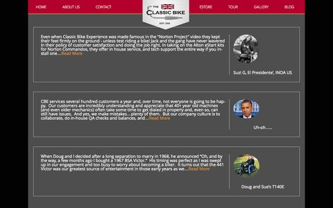 Screenshot of Testimonials Page classicbikeexperience.com - Testimonials | Classic Bike Experience - captured Oct. 26, 2014