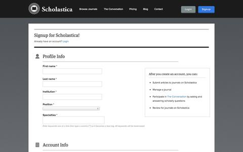 Screenshot of Signup Page scholasticahq.com - Signup for Scholastica! - captured Sept. 17, 2014
