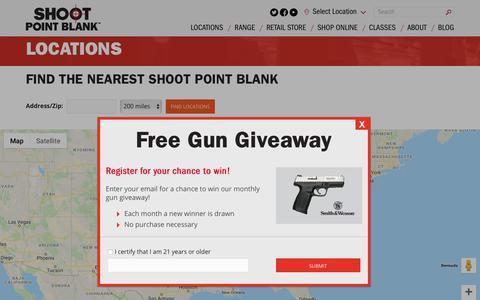 Screenshot of Locations Page shootpointblank.com - Locations | Indoor Shooting Range & Gun Shop - captured Sept. 28, 2018