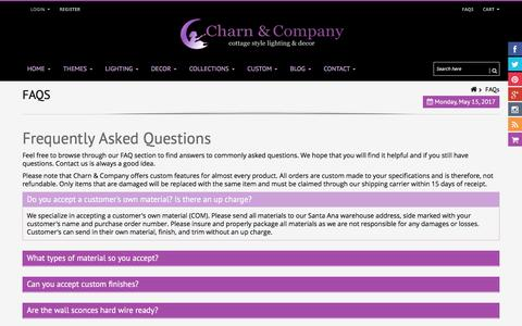 Screenshot of FAQ Page charnandcompany.com - FAQs | Frequently Asked Questions| Shabby Chic Decor | Charn & Company - captured May 16, 2017