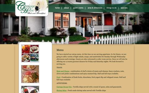 Screenshot of Menu Page carriagehousejefferson.com - Menu Carriage House Bed and Breakfast - captured Jan. 26, 2016