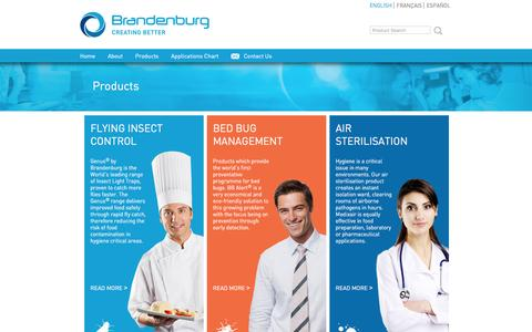 Screenshot of Products Page b-one.com - BRANDENBURG :: +44 (0)1384 472 900, manufacturers and designers of flying insect control systems - captured Feb. 8, 2016
