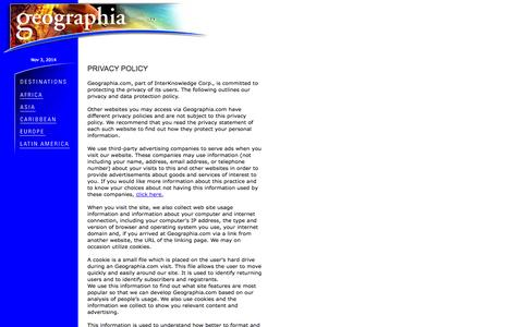 Screenshot of Privacy Page geographia.com - Geographia - Privacy Policy - captured Nov. 3, 2014