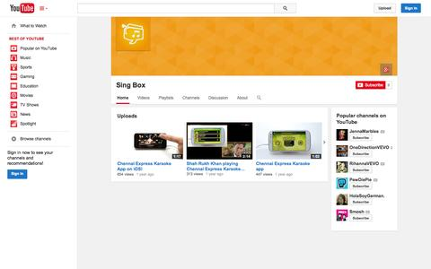Screenshot of YouTube Page youtube.com - Sing Box  - YouTube - captured Oct. 26, 2014