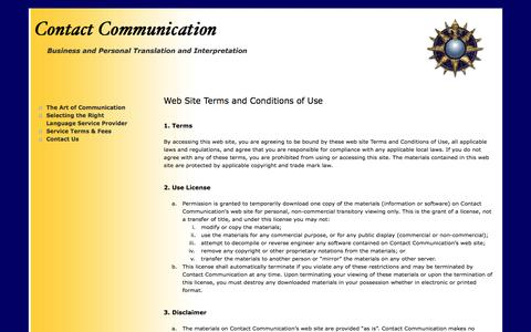 Screenshot of Terms Page contact-communications.com - Contact Communication - Translation & Interpreting Service in Orange County, California -     Terms of Service - captured May 27, 2016