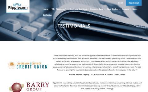 Screenshot of Testimonials Page ripplecom.net - Testimonials - Ripplecom Business Ripplecom Business - captured Oct. 28, 2017