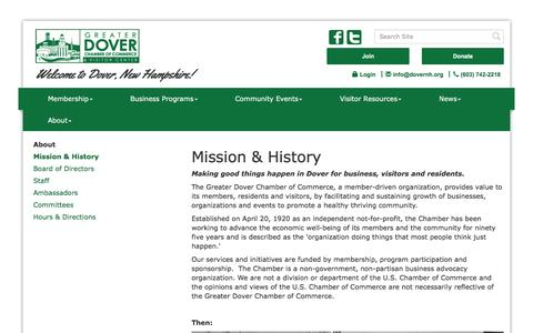 Screenshot of About Page dovernh.org - About Us - Greater Dover Chamber of Commerce, NH - captured Feb. 1, 2016