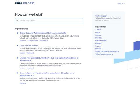 Screenshot of Support Page stripe.com - Stripe: Help & Support - captured Nov. 4, 2019