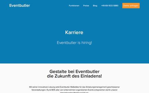 Screenshot of Jobs Page invitario.com - Karriere — Eventbutler - captured April 14, 2018