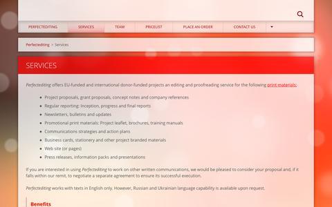 Screenshot of Services Page perfectediting.eu - Services :: Perfectediting - captured July 12, 2016
