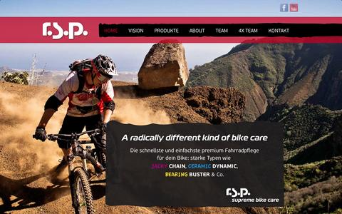 Screenshot of Home Page rsp.at - r.s.p. | A radically different kind of bike care - captured Oct. 6, 2014