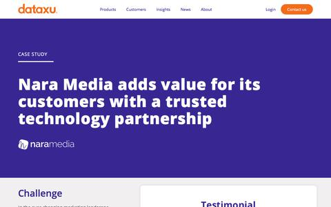 Screenshot of Case Studies Page dataxu.com - Nara Media adds value for its customers with dataxu inc. - captured Nov. 18, 2019