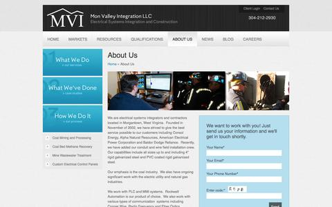 Screenshot of About Page mvi.bz - Electrical Systems Integrators and Contractors - captured Oct. 7, 2014