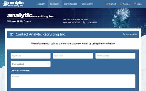 Screenshot of Contact Page analyticrecruiting.com - Contact Us|Analytic Recruiting - captured July 30, 2018