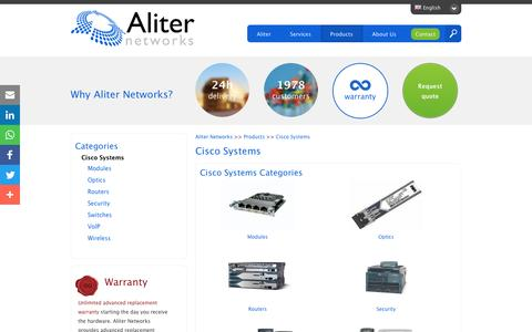 Screenshot of Products Page aliternetworks.com - Refurbished and Pre-Owned Cisco Systems - captured May 29, 2017