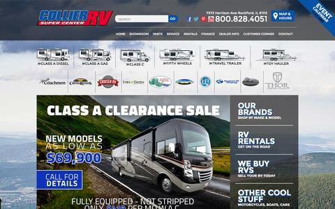 Screenshot of Home Page collierrv.com - Collier RV is an RV dealer in Rockford, serving new and used RVs along with parts and service in these areas Beloit, Chicago, Davenport and Dubuque. | Collier RV sells Class A, Class B, Class C, Toy Haulers, Travel Trailers, and Fifth Wheels. - captured Nov. 22, 2015