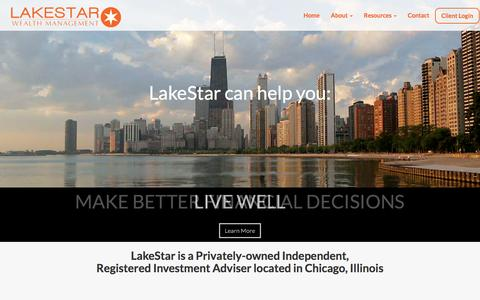 Screenshot of Home Page lakestarwm.com - Home | LakeStar Wealth Management, LLC - captured Oct. 18, 2016