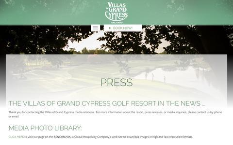Screenshot of Press Page grandcypress.com - Press Releases & Media | The Villas of Grand Cypress | Orlando FL - captured Sept. 30, 2018